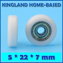 10PCS 5*22*7mm POM Plastic Coated Window Door Roller Flat Type Roller For Drawer Cabinet Window Wheel Nylon Pulley Bearing