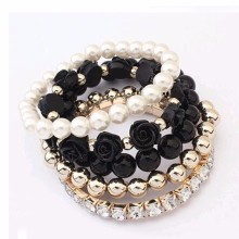 2016 hot sale European bracelet fashion mix beads bracelet stretch bracelet flower temperament bracelet Women Fashion Jewelry