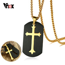 "Vnox Cross Pendant for Men Necklace Black Dog Tag Shape Stainless Steel Gold Color 24"" Box Chain Christ Prayer Male Jewelry(China)"