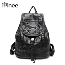 iPinee Luxury Ladies Wash Leather Backpack Designer Rivet Washed Leather Bags Weave Decoration Women Bags