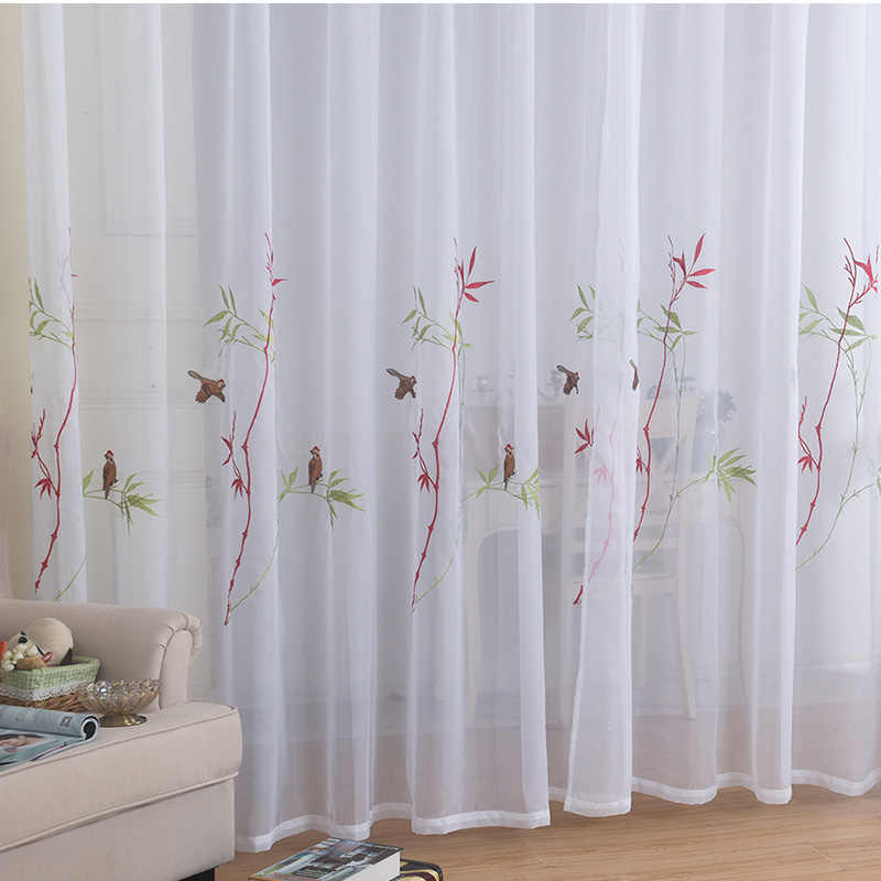 New Hand-painted Bird Embroidered Tulle Curtains for Living Room Simple White Sheer Window Curtain for Bedroom Voile Drapes