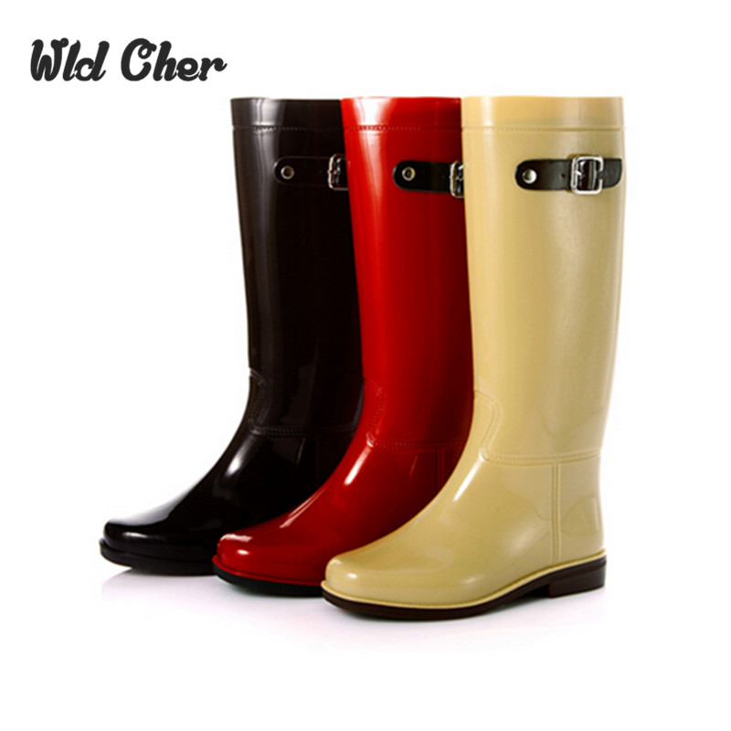 Catching Cute British Style Bright Mirror Knee High Fashion PVC Rain Boots Water Shoes Rainboots For Woman<br>