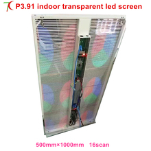 Smallest pitch transparent screen P3.91 outdoor curtain wall led display ,5000cd,500*1000mm(China)