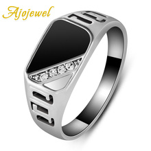 Ajojewel #7-12 Good Quality Man Jewelry Fashion Gold-color Black Enamel Men Finger Ring With CZ