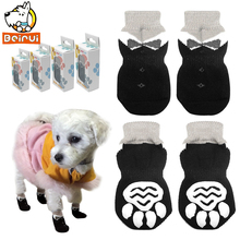 Anti-Slip Dog Shoes Pet Knitted Socks Cotton Small Medium Pets Booties No-Slip Paw Sole Dog Cat Puppy Doggie Shoes S M L XL(China)