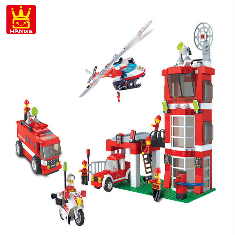WANGE City Fire Station Blocks 638pcs Bricks Helicopter Motorcycle Building Blocks Sets Models Toys For Children<br>