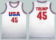 Donald Trump 45 USA Basketball Jersey 2016 Commemorative Edition White S-3XL Cheap Throwback Jerseys Sleeveless Breathable(China)