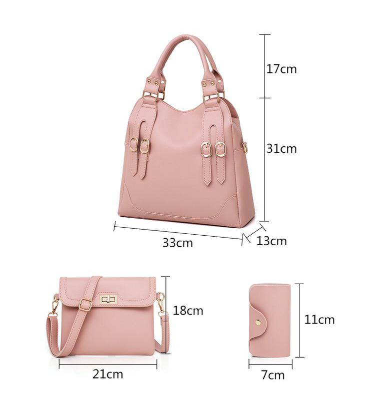Women Bag PU Leather Female 3 Sets Handbags Women Ladies Shoulder Bags Composite Casual Tote Solid Bag for Women DropShipping 41