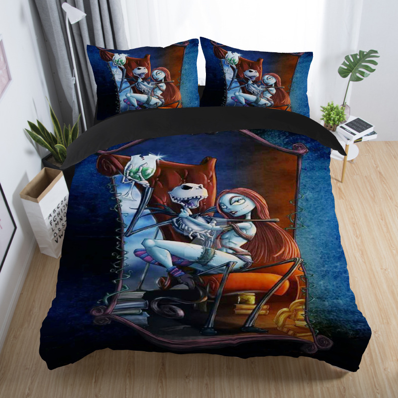 skull couples bedding set skull bed set 3D Nightmare Before Christmas Duvet Cover Jack and Sally Valentine`s Day Rose Decor 5 (4)