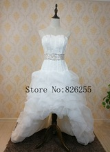Free Shipping Popular Short Front and Long Back Ruched Organza Wedding Dresses/Gowns with Beading and Sashes ZH0172(China)