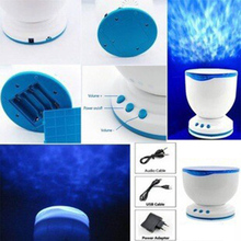 2017 Wholesale Night Light Projector Ocean Blue Sea Waves Projection Lamp With Mini Speaker(China)