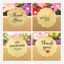 100 Pcs Thank You Love Self Adhesive Stickers Kraft Label Sticker Diameter 3cm For Diy Hand Made Gift Cake Candy Paper Tags
