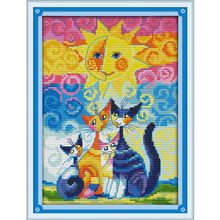 Cats and The Sun Counted Cross Stitch DMC Cross Stitch DIY 11CT 14CT Cross-Stitch Kit Handmade Embroidery for Needlework WR012