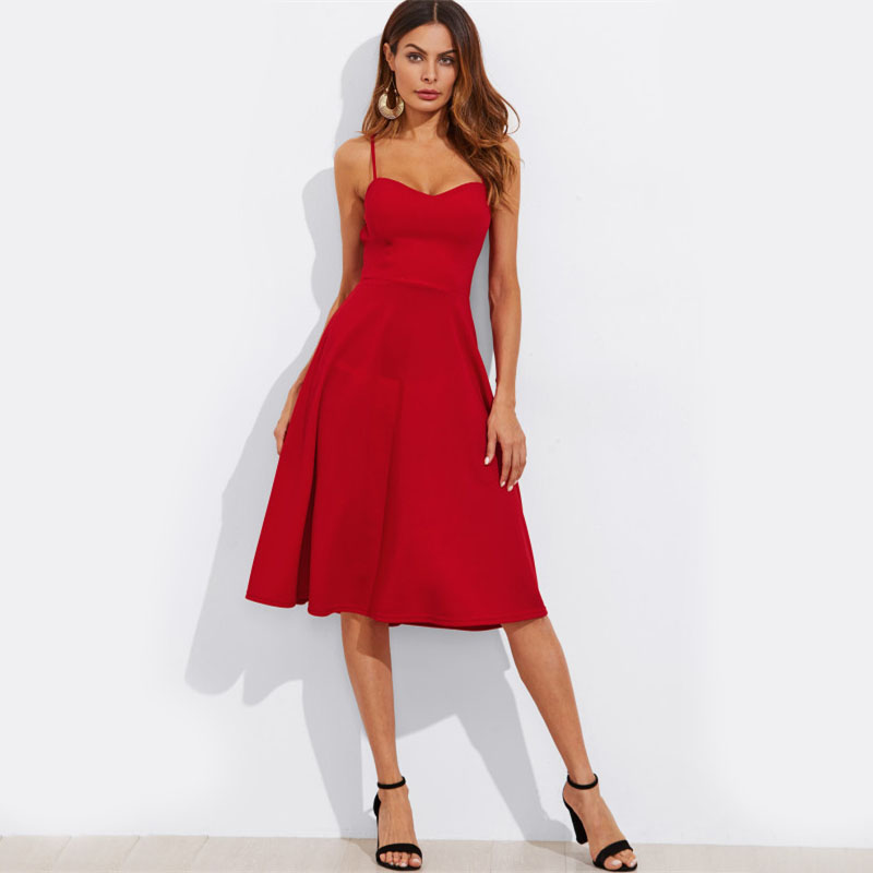 COLROVIE Crisscross Belted Back Cut Out Fitted & Flared Dress Red Spaghetti Strap Sleeveless Sexy A Line Party Dress Green 12