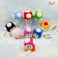 "10pcs/lot Free Shipping Super Mario Bros Mushroom Keychain Plush Toy Soft Stuffed Doll 2.5""(China)"