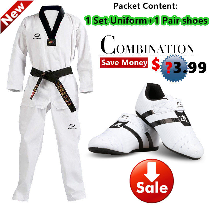 Hot Good quality taekwondo uniform Taekwondo shoes black V-neck mooto karate dobok WTF approve cotton 1 set uniform+1 pair shoes<br><br>Aliexpress