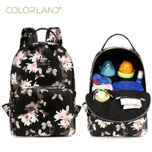 COLORLAND PU Backpack Diaper Bag Waterproof Multifunctional Nappy Bags Maternity Changing Bag Wet Infant Blosa For Mommy Daddy
