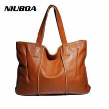NIUBOA Woman Genuine Leather Handbag Large Cowhide Handbag Big Tote High Quality Women's Messenger Bag Shoulder Bag Bolsos Mujer(China)