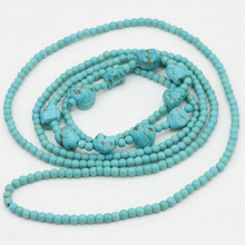 Long chain necklace statement jewelry for women fashion vintage calaite turquoises Bohemia 4mm round beads neck 50inch B3190