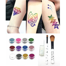 Glitter Tattoo Kit Temporary Tattoo Shimmer Body Art Waterproof Tattoo 12 Colors Stencil Brush Glue(China)