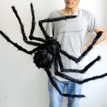 Soft Black Plush peluche Spider Funny Toy Scary Red Eyes for Halloween Decor Toys Party Stage Horror Props Prank Joke Scary Toys(China)