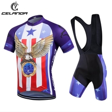 CELANDA 2017 USA Eagle Style Cycling Set Cycling jersey Ropa Ciclismo Maillot Clothing Short Sleeve Bicicleta Bicycle Wear
