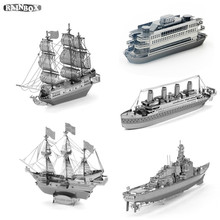Finger Rock 3D Metal Puzzles Assemble Destroyer Ship Black Pearl Model Decoration Toys New Year Gift