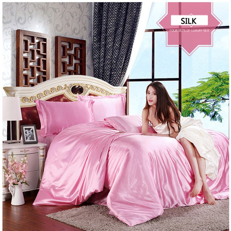 HOT! 100% pure satin silk bedding set,Home Textile King size bed set,bedclothes,duvet cover flat sheet pillowcases Wholesale 14
