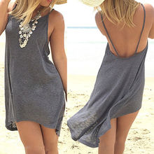 Buy Dresses Sexy Women Lady Clothing Summer Mini Dress Casual Sleeveless Loose Gray Cotton Beach Dresses Summer 2016 Women Clothing for $4.41 in AliExpress store