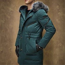 New Arrive Winter Men's Long Thickening White Goose Down Jacket Young Male Big Yards Fashion Clothes Coat Luxurious coat