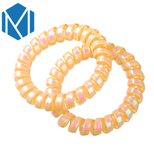 M MISM 1 set=2 pcs Children Girl Fluorescence Color Rubber Bands Telephone Wire Spiral Hair Band Plastic Rope Hair Accessories