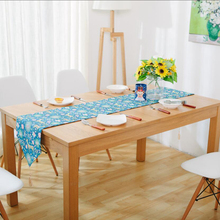 Fudiya Japanese Table Runners Linen Cotton Modern Style Elegant Table Runners Blue ColorTafelloper With Cartoon Deer(China)