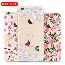 Fruits Flower Cactus Silicone Case for iPhone 7 7 Plus Cover for iPhone 5S 5 SE 6 6s 6plus Case TPU Daisy Plant Cell Phone Cases