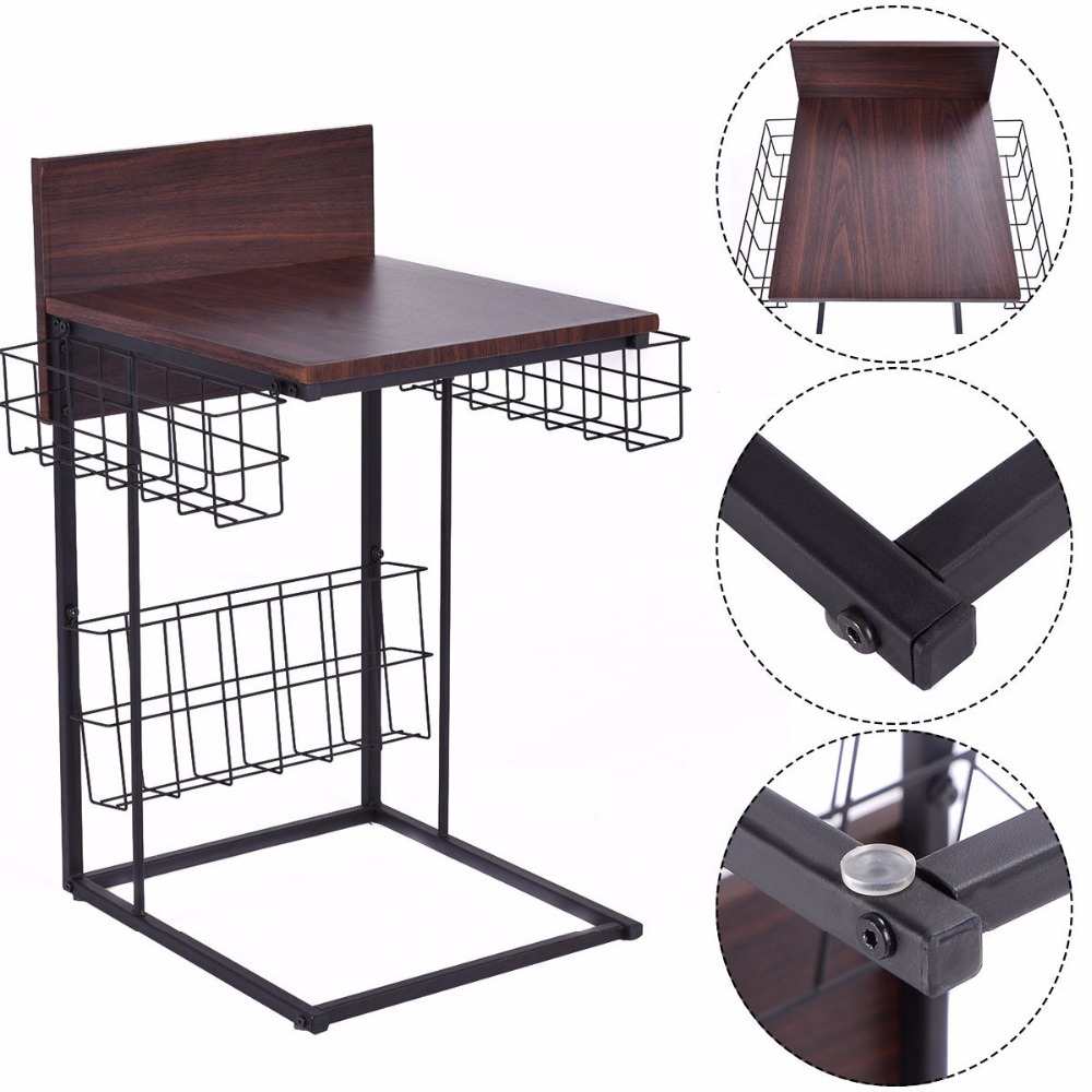 Goplus Multifunctional Sofa Side Table Living Room Tables Modern Home Furniture Decor with Storage Basket Coffee Table HW52157<br>