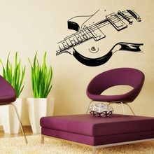 Home Supplies Unique Sitting Room Living Room Decorative Wall Stickers Guitar And Violin Pattern Graffiti Wall Stickers 57*100cm(China)