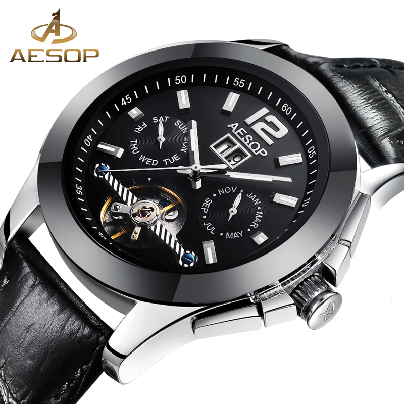 AESOP Men Watch Automatic Mechanical Hollow Skeleton Waterproof Stainless Steel Male Clock Famous Brand Relogio Masculino Box 27<br>