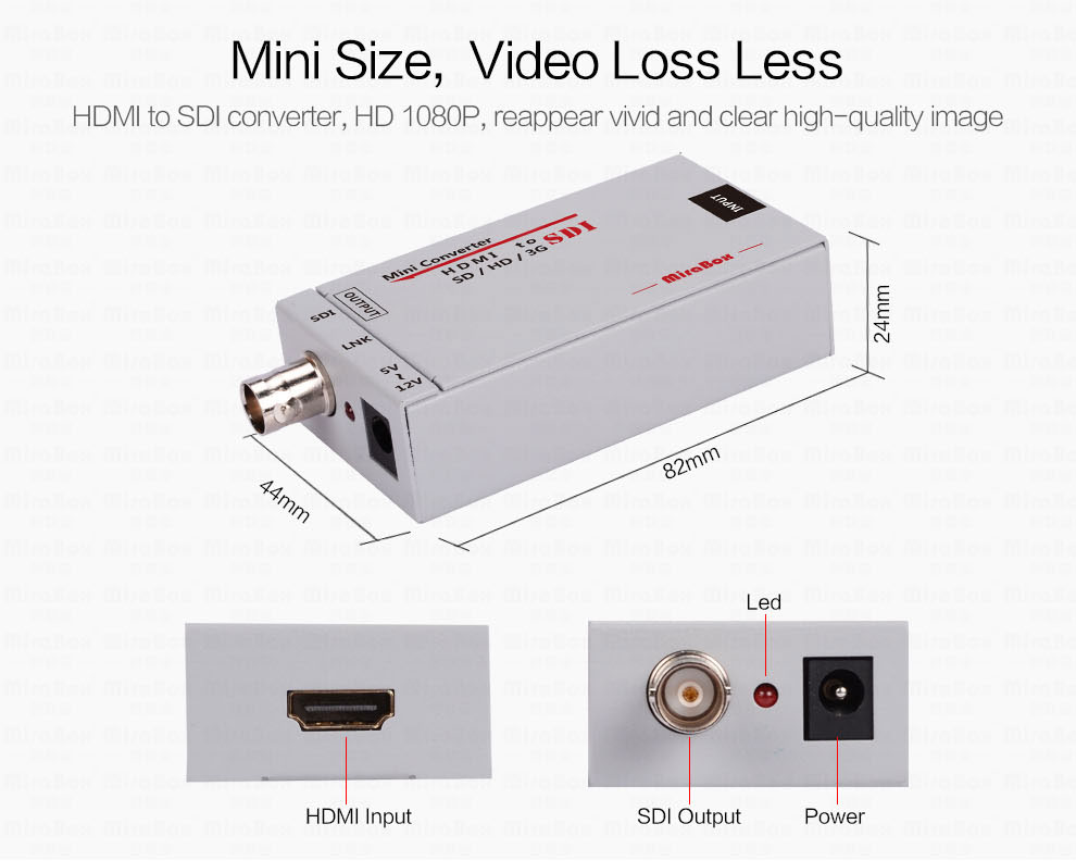 Mini 3g HDMI To SDI Converter Full HD 1080P HDMI to SDI Adapter Video Converter with Power Adapter for Driving HDMI Monitors (2)