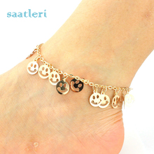 Womens Gold Charm Pendant Smile Face Beach Barefoot Toe Chain Link Foot Anklet Chain Jewelry Beautiful Accessories(China)