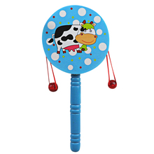 Cute Pattern Rattle Drum Toy Mini Baby Kids Hand Drum Sound Toy Shaking Rattle Toy Nice Gift Random Color