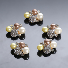 New 50Pcs  Pearl Buckle Rhinestone button for wedding embellishment headband