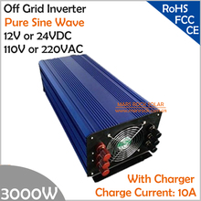 3000W DC12V/24V AC110V/220V Off Grid Pure Sine Wave Single Phase Inverter with Charger and LCD Screen