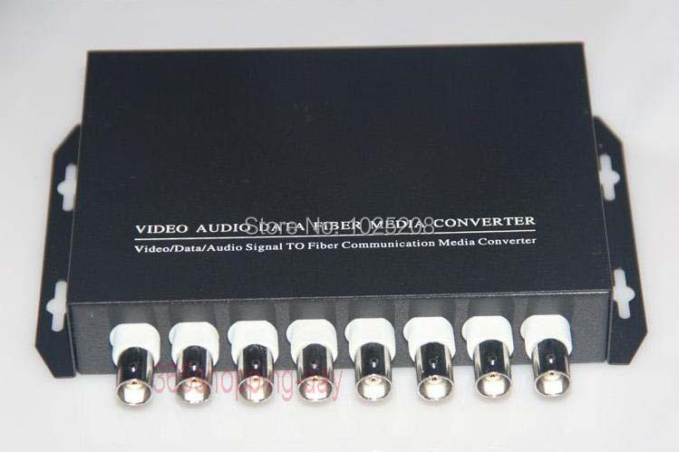 1 pair 8 channel video/data/Audio fiber optic media converter,8v1d,RS485,FC,Single mode