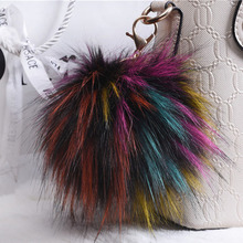 13CM Fluffy Pompom Keychain Rex Genuine Artificial Fox Fur Pompom Key Ring Pom Pom Toy Doll Bag Charm Car Key Holder Keyrings
