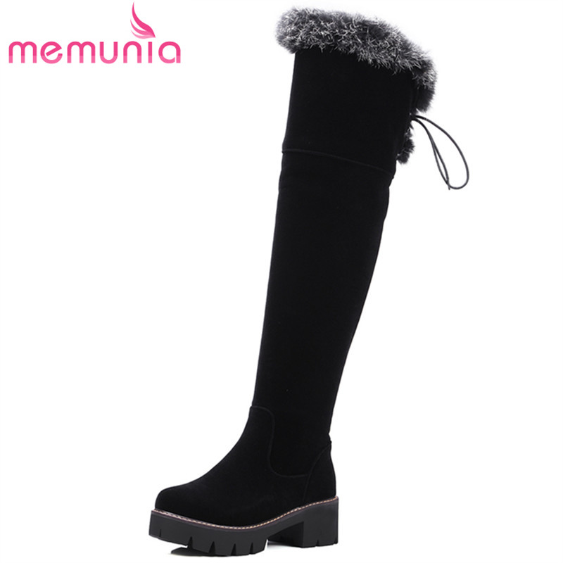 MEMUNIA Platform shoes flock zipper black winter shoes over the knee boots round toe ribbon womens boots fashion size 34-43 <br>