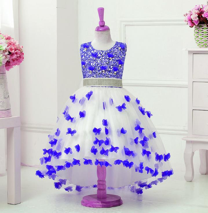 2018 Flower Girl Dresses long tail Crystal Lace Up Applique Ball Gown First Communion Dress for Girls Customized Vestidos Longo<br>