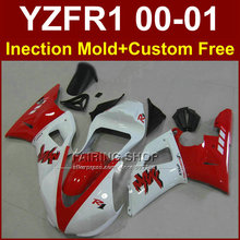 Red glossy white bodyworks EXUP for YAMAHA fairings YZFR1 2000 2001 yzf 1000 YZF R1 00 01 ABS plastic body repair parts+7gifts