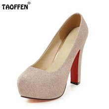 Size 33-43 New Wedding Party Shoes Women High Heel Pumps Sexy Platform Inside Fashion Square High Heeled Brand Heels Footwear