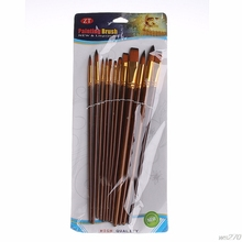 12Pcs Fine Acrylic Artists Paint Brushes Painter Sizes Brush Oil Painting Set #WS270# Drop Ship(China)