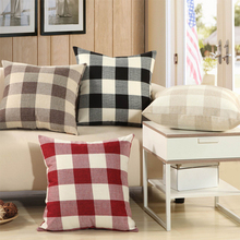 Quality Thick England Style Plaid Check Linen Decorative Pillow Covering Throw Sofa Seat Car Cushion Cover Black Red BrownCoffee