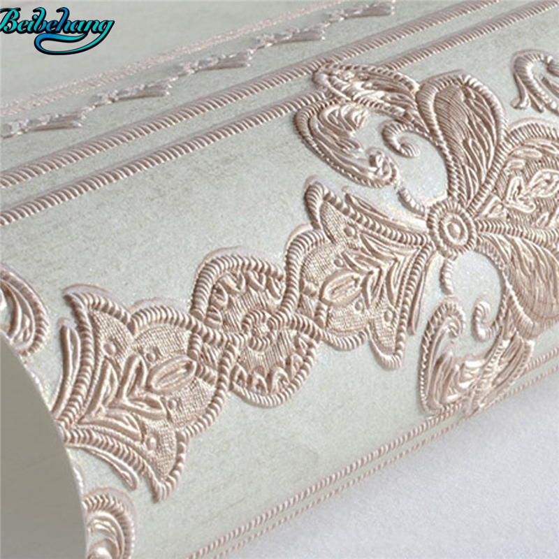 beibehang European style wallpaper retro vertical striped wallpaper three - dimensional 3D carved fine non - woven wallpaper<br>